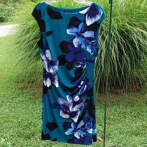 Lauren Ralph Lauren teal blue floral dress sz 16